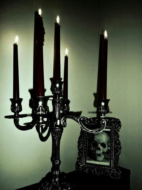 Candles:  Goth candelabrum with black #candles.