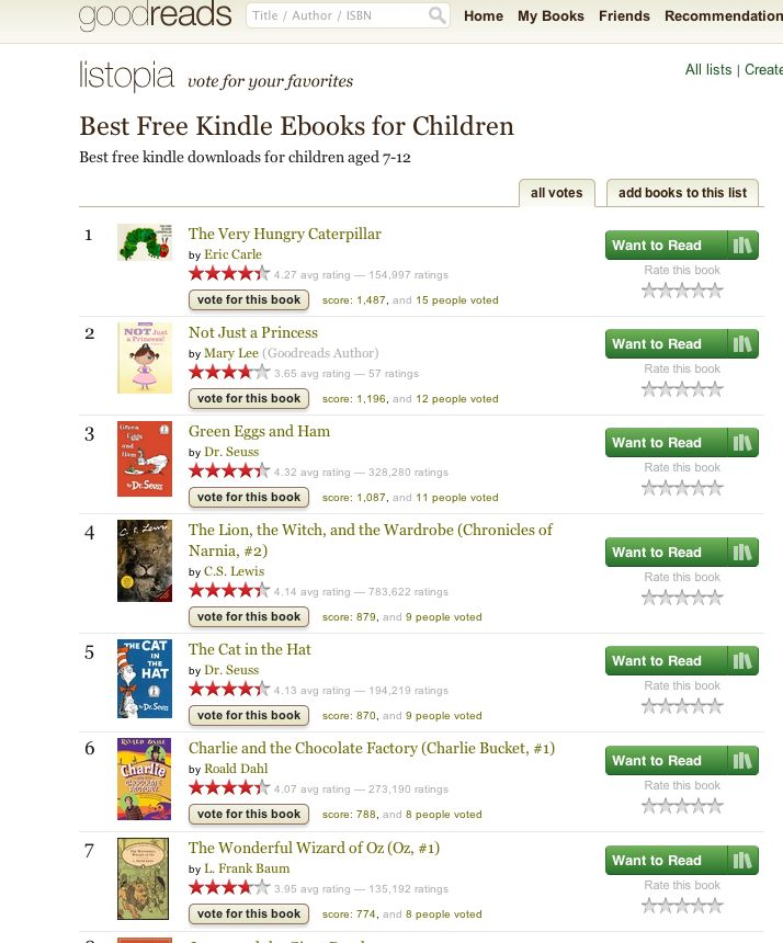 Best Free KIndle Ebooks for Kids by goodreads: https://www.goodreads.com/list/show/21465.Best_Free_Kindle_Ebooks_for_Children_