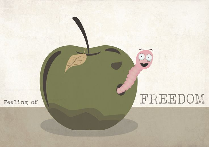 A worm that has been in a rotten apple for so long that he cries of happiness when he finally gets out. #poster #illustration #texture