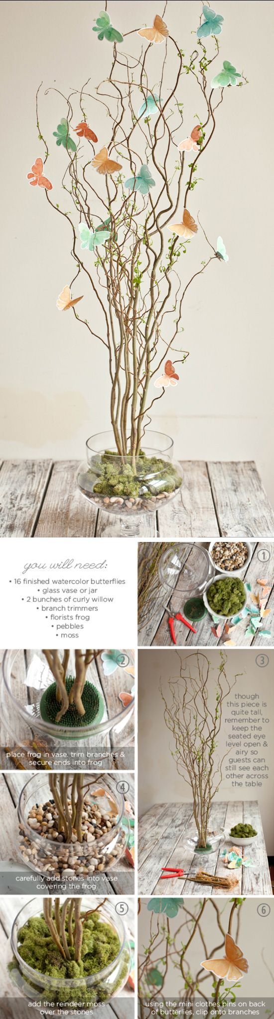 Twig & Butterfly Centerpiece Tutorial | Click Pic for 24 DIY Spring Wedding Ideas on a Budget | DIY Spring Wedding Centerpieces Ideas