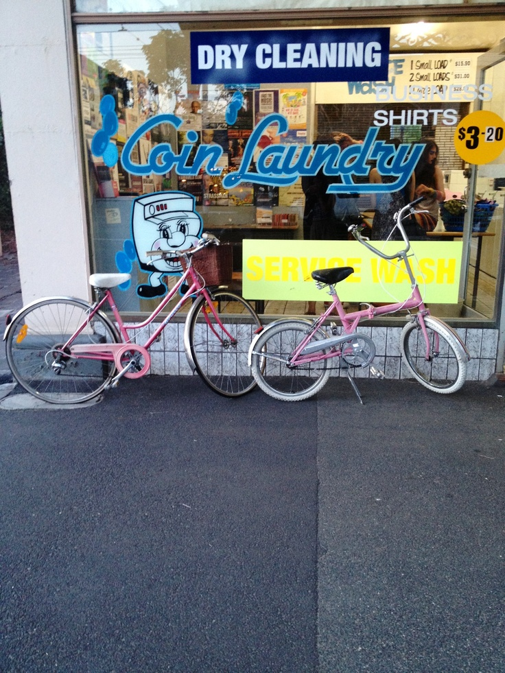 Coin laundry shoot. Vintage pink bike