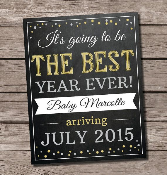 New Year's pregnancy announcement, New Year pregnancy announcement, SweetFaceCelebration on Etsy