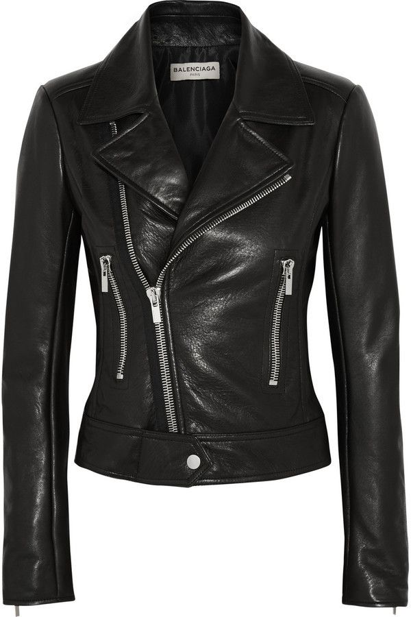 $2,745, Balenciaga Leather Biker Jacket. Sold by NET-A-PORTER.COM. Click for more info: https://lookastic.com/women/shop_items/323255/redirect