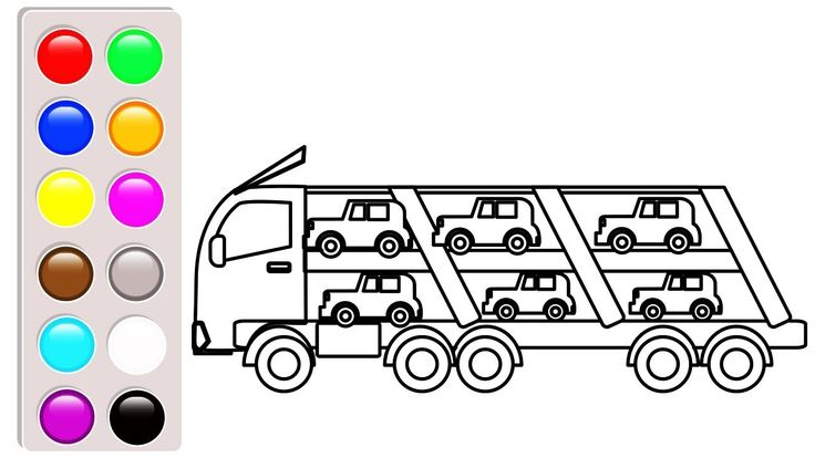 Car and truck coloring pages for children, Learn colors ...
