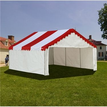 Party Canopy 18x20 Enclosed The enclosed 18x20 party canopy tent brings elegance at a great price. These enclosed party canopy tents come with 1 front cover w/ zippers, 1 back door and side panels. They display style and are very eye-catching. The party canopy is easy to install and can be used for many applications. This Party Canopy Pole Tent brings a lot of functionality with class at a great price.