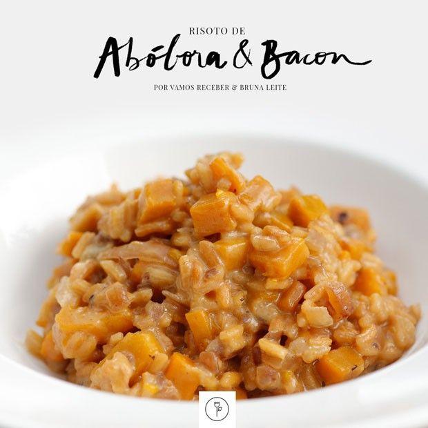 'Vamos receber' ensina risotto de abóbora. Ingrediente da estação e bacon em prato gourmet