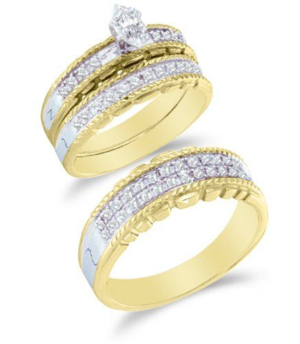 Two Tone Gold Diamond Mens And Ladies Couple His Hers Trio 3 Three Ring Bridal Matching Engagement Wedding Band Set