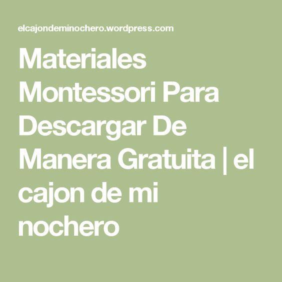 Materiales Montessori Para Descargar De Manera Gratuita   el cajon de mi nochero