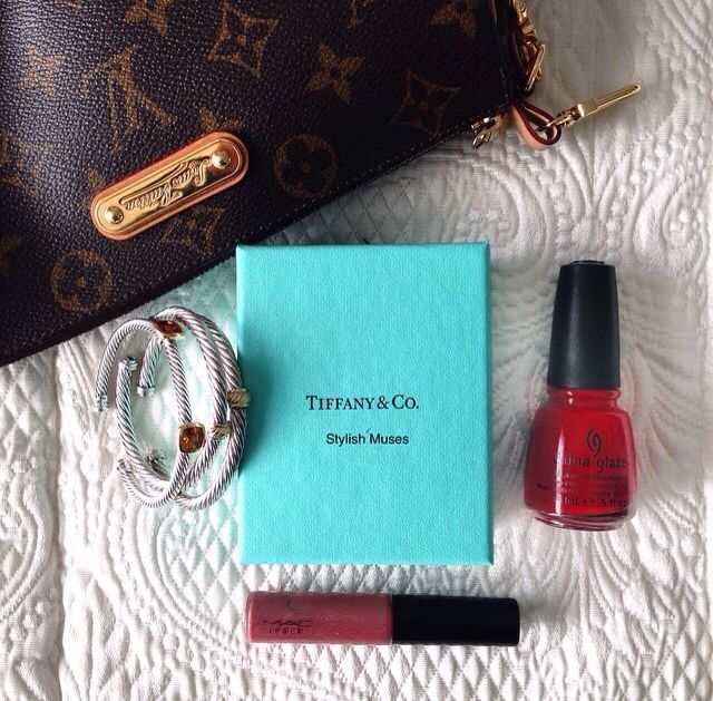Stylish Muses. Louis Vuitton. David Yurman. Tiffany & Co. MAC Cosmetics. China Glaze. Sunday flat lay.