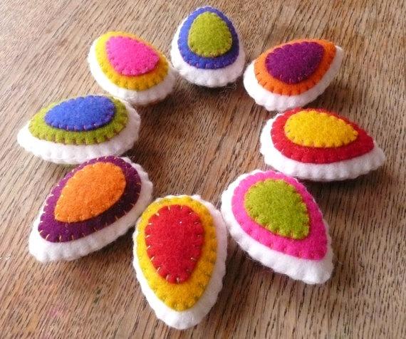Colorful felt easter eggs Set of 8 by HetBovenhuis on Etsy, $21.99