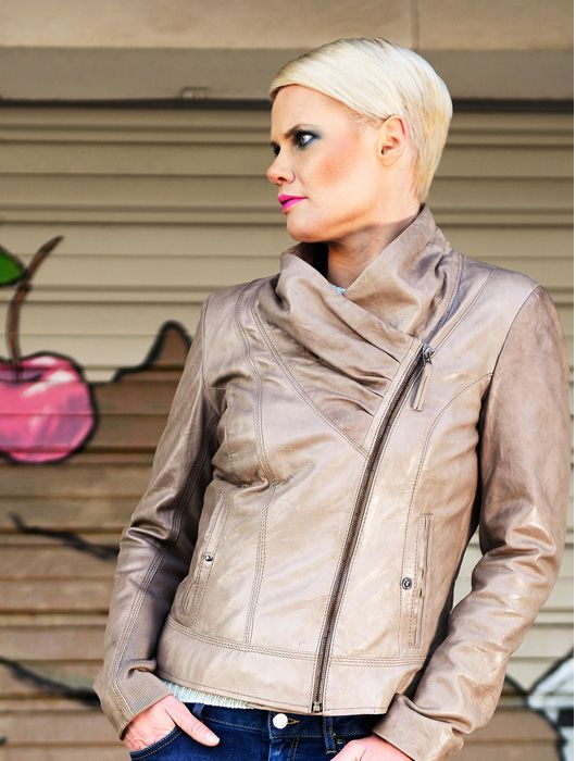 """Ariel"" biker inspired leather jacket.  Spring 2013"