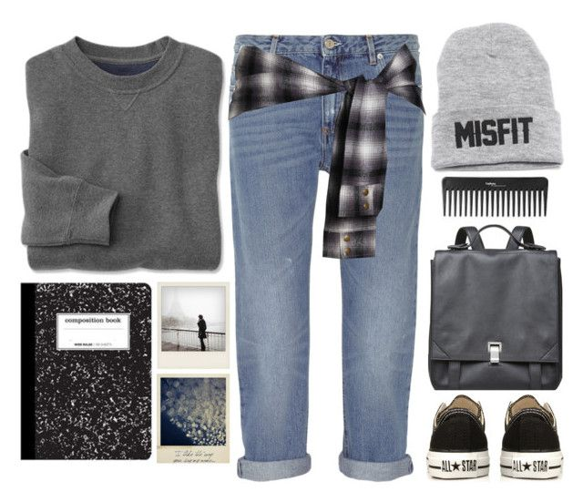 """Gray Grunge"" by emc1397 ❤ liked on Polyvore featuring Acne Studios, Converse, Proenza Schouler and Polaroid"