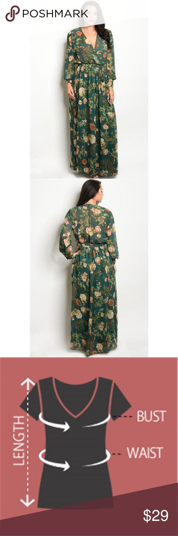 "Curvy Plus Floral Chiffon Print Maxi Dress Ladies fashion plus size floral print chiffon maxi dress with a v neckline. Wrap Drape Style with attached material belt. Button cuff accent. Fabulous to wear alone or to layer over leggings. Recommended to wear a tank or sheath dress underneath. New in Package.   Imported  1XL.2XL.3XL 100% Polyester   Hunter Green  WFS  Item Measurements: SIZE 1XL Measurements:  SIZE 1XL Length:62"" Waist:48"" Bust:52"" SIZE 2XL Length:63"" Waist:50"" Bust:54"" SIZE 3XL…"