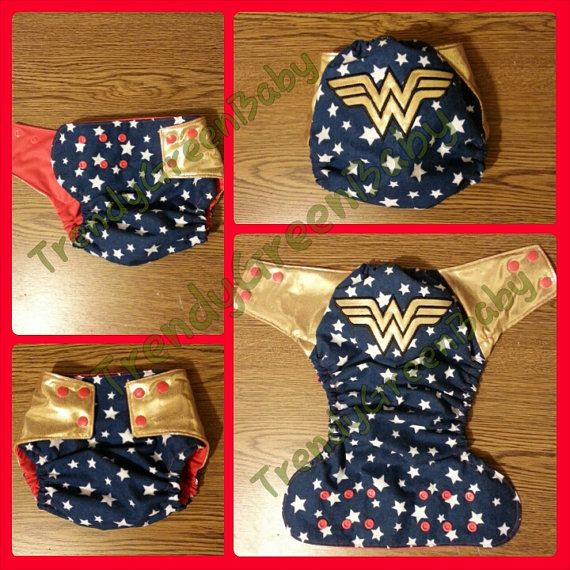 Cloth diaper or diaper cover Wonder Woman custom cover for cloth or disposable diapers