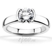 Half bezel designer inspired solitaire engagement ring