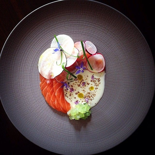 Salmon, cucumber, radish, and garlic buttermilk by @chefdanielwatkins #TheArtOfPlating