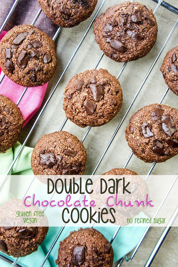 Double Dark Chocolate Chunk Cookies - Gluten Free, No Refined Sugar. A healthy, dark chocolate cookie-- an indulgent treat!