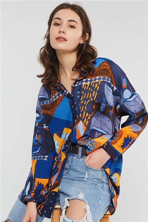 29adc6d67670 Geometric Pattern Print Lapel Mid-Length Long Sleeve Women s Shirt ...