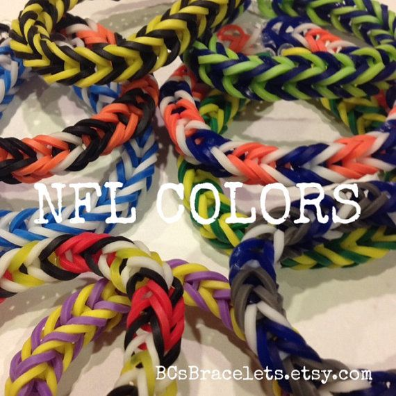 Rainbow Loom NFL Colors Fishtail Rubber Band by BCsBracelets