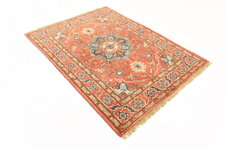 This Vegetable-dyed Oriental Ariana Ziegler rug is <strong>Hand Knotted</strong> in Pakistan of 100% Natural Wool and has <strong>150 knots</strong> per square inch. Colors found in this rug include: Red, Blue, Green, Navy Blue, Cream. The primary color is Red. This rug is in excellent condition. It is brand new. The measurements for this rug are: 4 feet 10 inches wide by 6 feet 6 inches long.