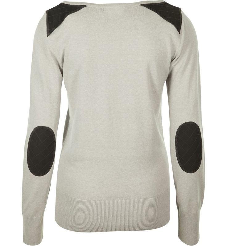 pull épaules et coudes simili cuir gris chiné
