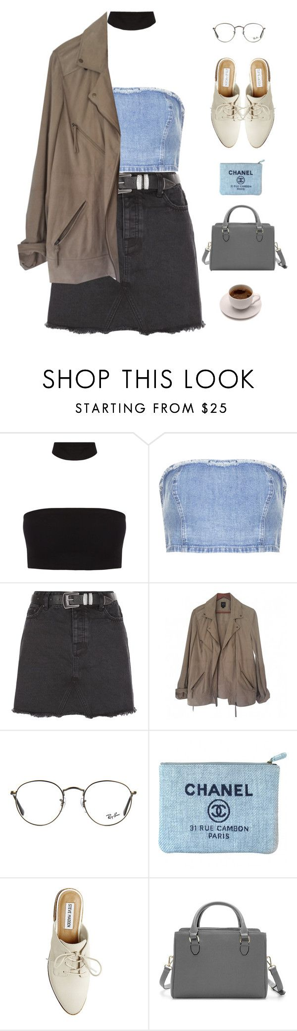 """""""First // Cold War Kids"""" by gre17 ❤ liked on Polyvore featuring Topshop, New Look, SWILDENS, Ray-Ban, Chanel, Steve Madden and Zara"""