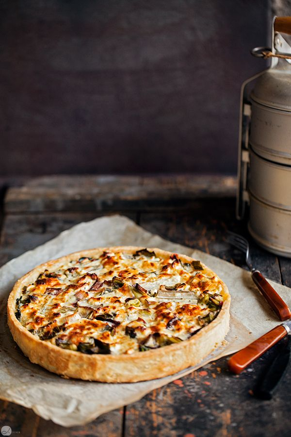 Soft cheese and vegetable tart.
