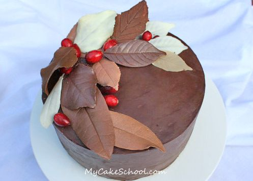 Autumn Cake- Chocolate Leaves! this would make a nice Valentine cake.