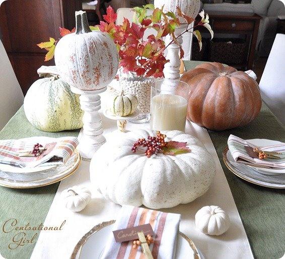 Thanksgiving table setting: Autumn Tables, Decor Ideas, Tables Sets, Tables Scapes, Fall Decor, Thanksgiving Table, White Pumpkin, Fall Tablescapes, Tables Decor