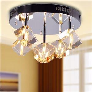 100W plafonnier cristal encastré avec 5 lampes dans floraux en verre givré (base d'ampoule G4)