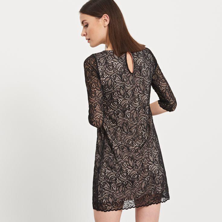Sukienka z koronką, SUKIENKI, czarny, RESERVED