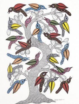 Tree and Birds Gond Painting by Dwarka Prasad