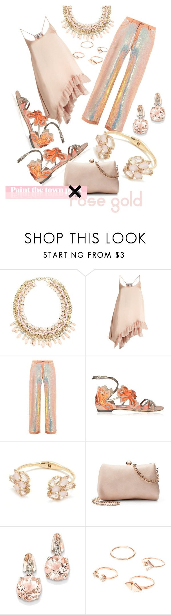 """Paint the Town Rose Gold🤗"" by mdfletch ❤ liked on Polyvore featuring Elizabeth and James, Ashish, Jimmy Choo, Kate Spade, LC Lauren Conrad, BillyTheTree and paintthetownrosegold"