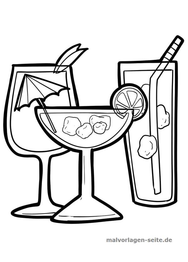malvorlage cocktail  essen  kostenlose ausmalbilder