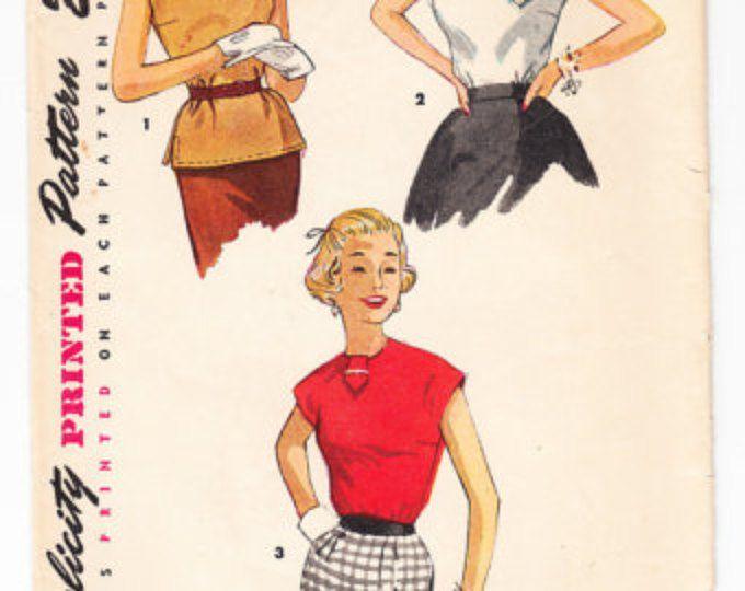 Vintage 1953 Simplicity 4434 Sewing Pattern Junior Misses' Blouse Size 15 Bust 33