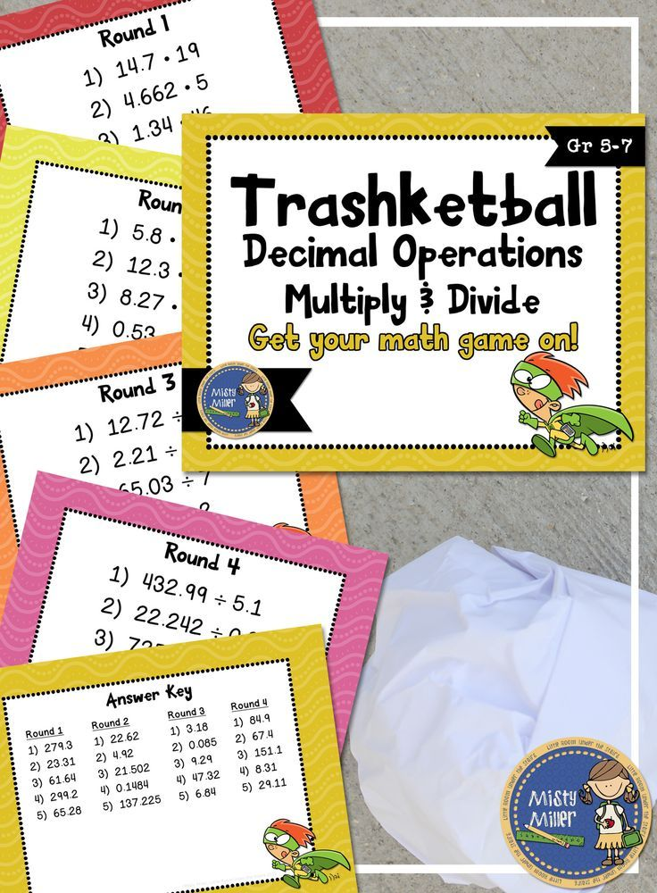 Multiply & Divide Decimals Trashketball involves students multiplying and dividing decimals and shooting baskets at the end of each round. There are 4 rounds in this game with 5 questions in each round. Powerpoint format. $ gr 5-7