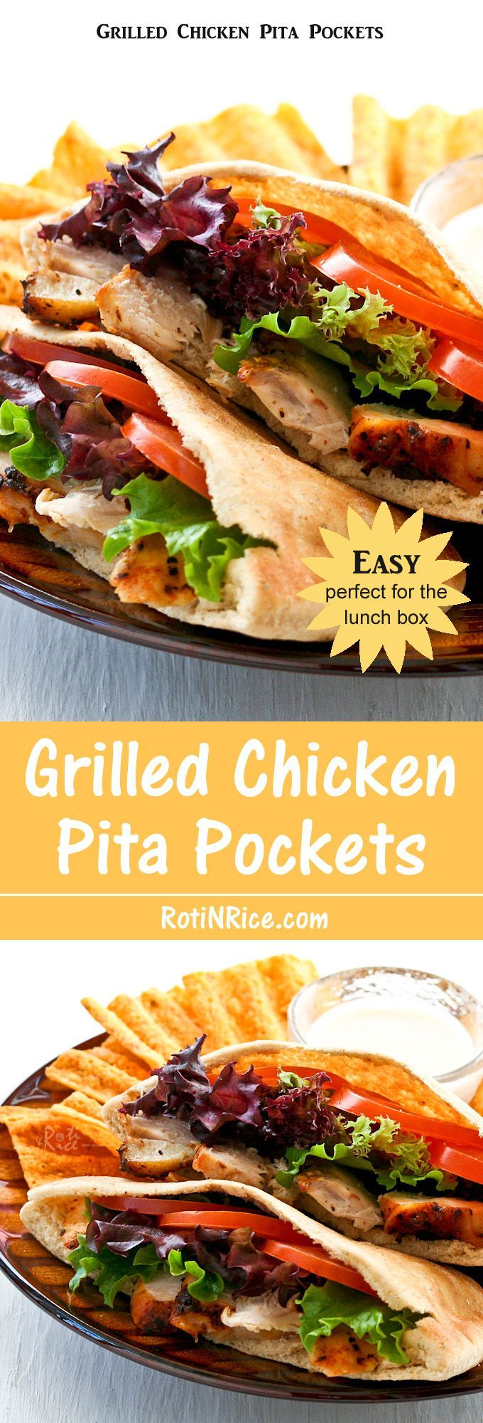A quick and easy to assemble Grilled Chicken Pita Pockets using store bought grilled or rotisserie chicken. Perfect for the lunch box or tailgate party. | RotiNRice.com