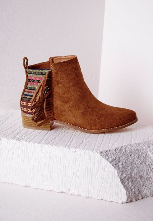 Embroidered Tassel Ankle Boots Tan - Shoes - Ankle Boots - Missguided