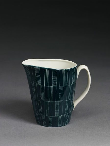Cream jug, porcelain with sgraffito decoration and colour glaze, manufactured by Chodziez, Poland, mid 1950s.