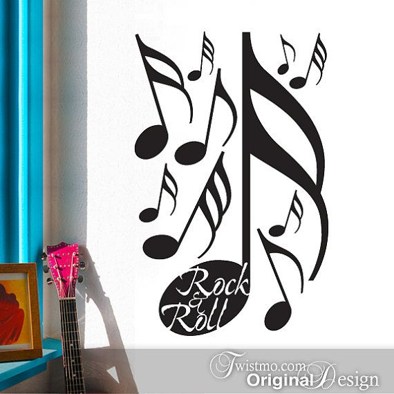 Wall Stickers   Music Wall Decals For Rock And Roll Decor With Music Notes