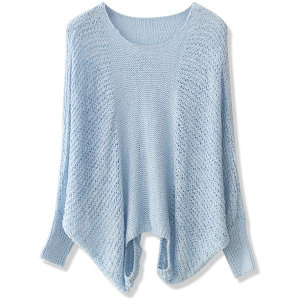 Chicwish Pastel Blue Slouchy Sweater ($42) ❤ liked on Polyvore featuring tops, blue, pastel tops, blue top and slouchy tops