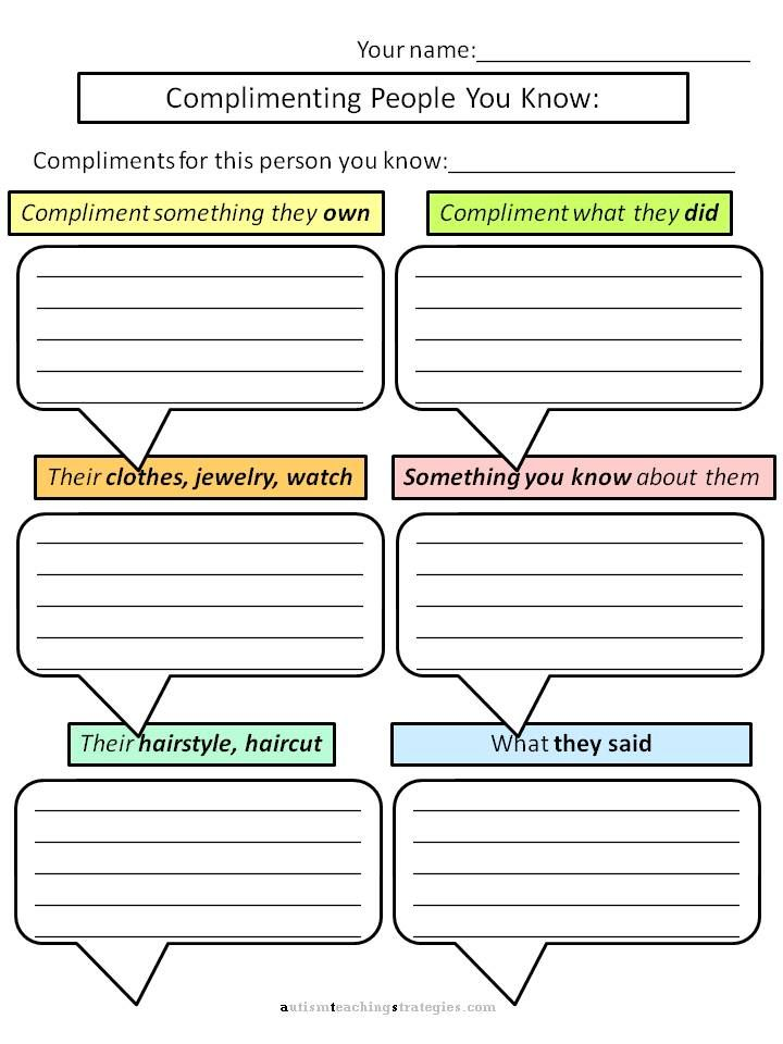 Social Skills: Compliments    -I love this, but when I teach giving compliments, I ask kids to focus on things that kids did, or said as this focuses on the other person's character, not their possessions.