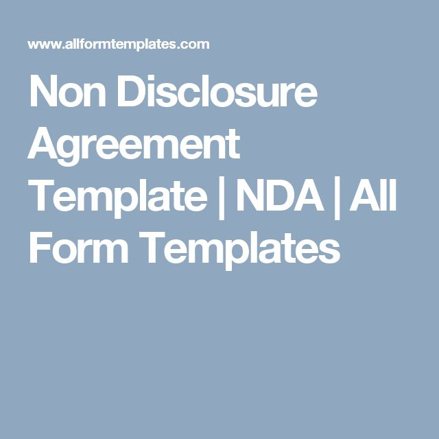 Non Disclosure Agreement Template NDA All Form Templates Non - financial confidentiality agreements