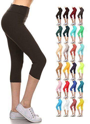 087fd2177966e Leggings Depot Womens Yoga Gym High Waist reg/Plus 25Colors Solid and  Printed Workout Capri Leggings Pants 25Colors
