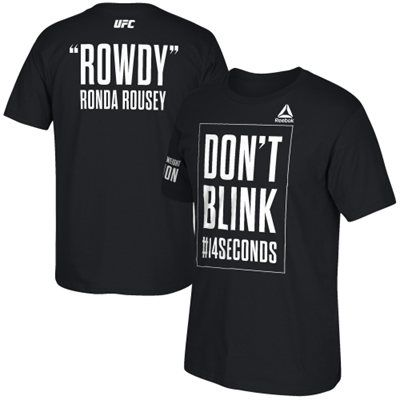 'Rowdy' Ronda Rousey UFC 184 Reebok Don't Blink #14Seconds T-Shirt - Black