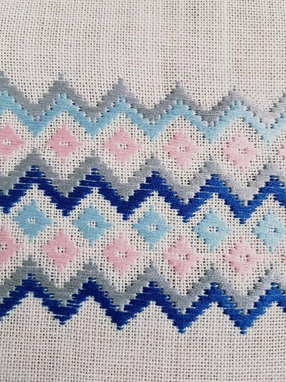 Lovely pink/blue embroidered linen tablerunner in mint condition. The size is:40 x 14 1/2 The material is linen, cottonthread Contact me if you have questions Thank you for visit my vintage shop :) Welcome to visit my new shop Ingsretrothings
