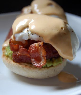 Avocado Eggs Benedict with Chipotle Hollandaise - Oh my, there are so many things I love about this!!