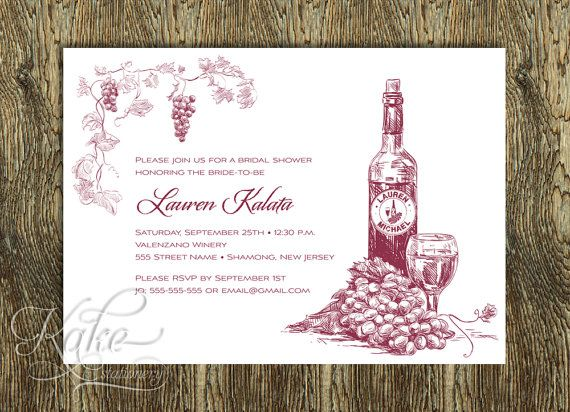 wine themed bridal shower invitation wine by