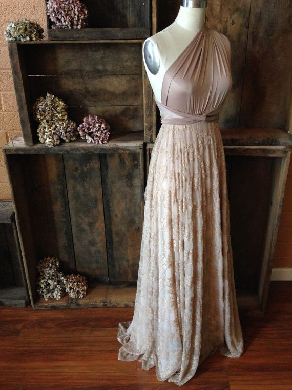 Stunning Vintage Style champagne and beige Lace Long Infinity Wrap Dress by Coralie Beatrix
