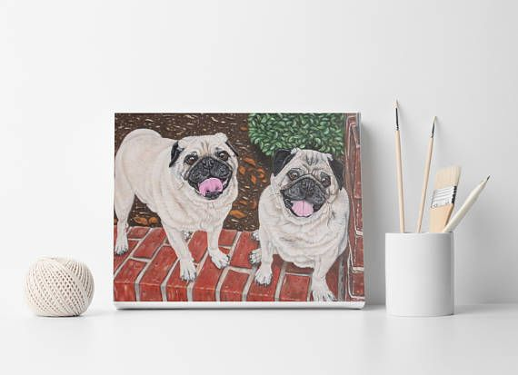 Custom dog portrait For 2 dogs or cats Dog lovers gift Cat